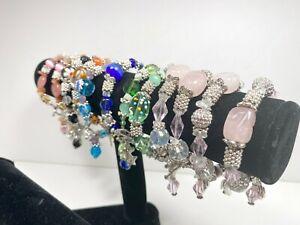 Colorful Bracelets Wholesale Lot of 12 Multi Color Angel Beaded Toggle Bracelet