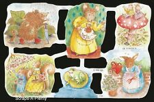 Die Cut Scrap Mamelok English Embossed - Baby Animals / Mice / Frog  WOW  1746