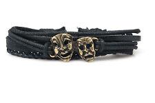 Comedy Tragedy Masks Rope and Leather Adjustable Unisex Charm Bracelet Handmade