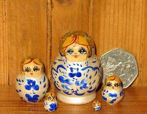 Matryoshka Russian Nesting Dolls Miniature WHITE Blue flowers 5 Tiny House