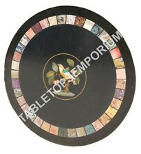 """24"""" Black Marble Round Coffee Console Table Top Marquetry Inlay Patio Decor E643"""
