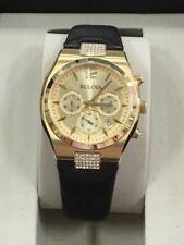 Ladies Bulova Watch #97M107, Gold Tone, Black Leather Strap