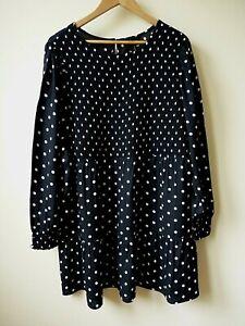New Ex Yours Black+White Spotty Print Shirred Smock Tunic/Dress Plus Size 14-32