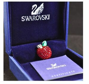 Swarovski Elements Crystal Pendant Silver Red Apple Necklace Pendant S6 Series