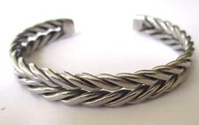 bracelet bijou vintage couleur argent rigide tressé ouvert 3552
