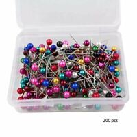 200 Pearl Head Pins Dressmaking Craft Sewing Hemming Tailors Pins Assorted 38mm
