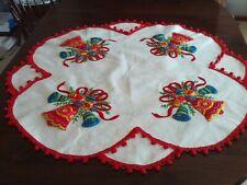 "Vintage Bucilla Handmade Felt Sequin Christmas Bells Tree Skirt - uncut - 44"""