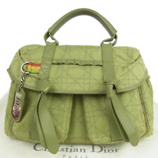 Auth Christian Dior Rasta Cannage Canvas Leather Hand Bag F/S 2328