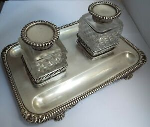 SUPERB LARGE HEAVY ENGLISH ANTIQUE VICTORIAN 1894 STERLING SILVER DESK INKSTAND