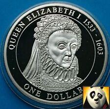 2005 Islas Cook $1 dólares de la reina Isabel I Historia Británica .500 Moneda De Plata