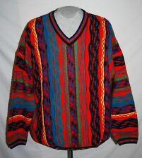 Tundra Sweater V Neck Bright Colorful Hip Hop Long Sleeve 3D 90's Mens sz XXL