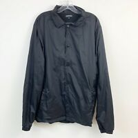 Elwood Mens Trendy Black Snap Front Windbreaker Size Large