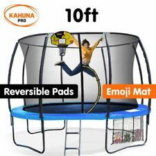 Kahuna Pro 10 ft Trampoline with Emoji Mat, Reversible Pad & Basketball Set
