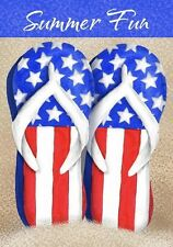 Patriotic Flip Flops Summer Fun Sand Beach Red White Blue Stars Small Mini Flag