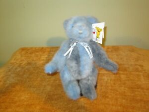 """Mary Meyer Blue / Gray Bear Plush Teddy 1995 Limited Certificate Tags 12"""" 1698"""