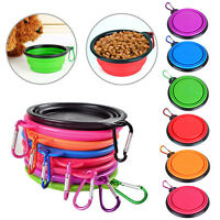 Travel Portable Collapsible Pet Dog Bowl for Food & Water Bowls Dish Foldable US
