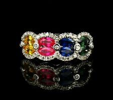 SIGNED DESIGNER NATURAL 1.50ctw RUBY SAPPHIRE & DIAMOND 14K WHITE GOLD BAND RING