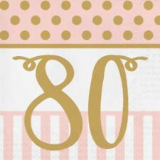 20 x Gold & Pink Chic 80th Napkins Ladies 80 Birthday Party Tableware Supplies