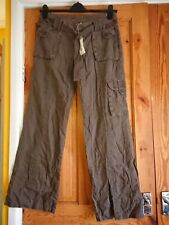 "Miss Selfridge Tie Waist Brown Wide Leg Loose Cargo Pants UK 10 32""W 31"" L BNWT"