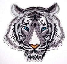 White Tiger Patch Big Cat Embroidered Iron Sew On Applique Badge Lion Panther