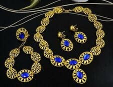 4 PIECE GOLD OVAL ROYAL BLUE ACRYLIC CRYSTAL NECKLACE EARRING BRACELET RING SET