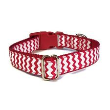Handmade Large Red and White Chevron Adjustable Nylon Dog Collar 1 Inch Wide