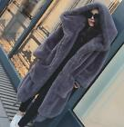 Womens Genuine Fur Jacket Winter Hooded Thicken Warm Coat Long Jacket Loose Hood