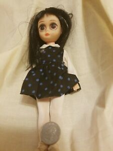 Susie Sad Eyes Doll Dark Blue Jumper/Dress With Polka Dots Black Hair