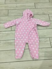 Jojo maman bebe snowsuit Pram Suit Pink Polka Dot fleece 6-12 months