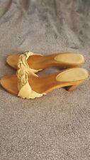Womens frye Leather Wood Slide Heel Sandals, Size 10, Color Cream, **EUC**