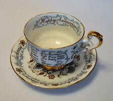 Vintage 57+ PARAGON Bone China England HAPPY ANNIVERSARY Set Footed Cup & Saucer