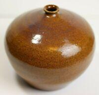 Vintage Spotted Brown, Heavy Glaze, Ceramic Pottery Bud Stem Vase, Perfect Cond.