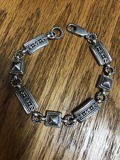 "Rectangles 7.5"" Signed Lt 19g Bracelet Sterling Silver 925 Beaded Squares"