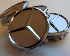 4x Mercedes-Benz Nabendeckel Silber/Chrom Nabenkappen B66470202 75mm Neu