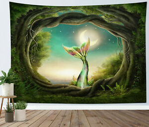 Green Forest Ocean Fantasy Mermaid Tail Tapestry Wall Hanging Bedspread Cover