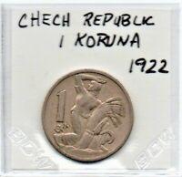 Czechoslovakia Coin 1 Koruna 1922 Copper-nickel 25mm As Pictured