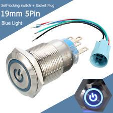 12V 19mm 5 Pin Latching Momentary Push Button Switch LED Light Blue Socket Plug