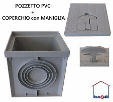 POZZETTO PVC 20 X 20 H 20 PLASTICA + COPERCHIO CHIUSINO CON MANIGLIA ACQUA CAVI