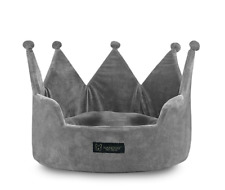 Nandog Pet Gear Dog Crown Luxury Bed Micro Plush Grey