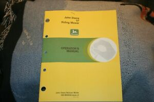 JOHN DEERE 57 RIDING MOWER OPERATORS MANUAL OM-M45858-ISSUE JI