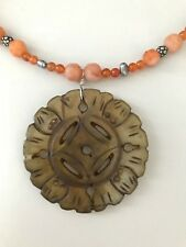 Double face hand carved brown jade pendant & jade gemstones necklace 925 SS 23""