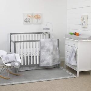 NoJo Elephant 8-Piece Nursery Crib Bedding Set, Grey/White/Charcoal - See Detail