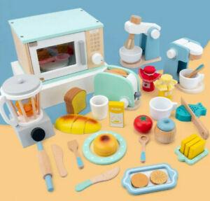 Wooden Toy Kitchen Utensils Play Toaster Juicer Blender Pretend Mixer Microwave
