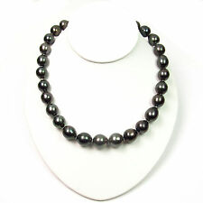 """18"""" 12-14.5mm Baroque Tahitian Black Pearl Strand Nacklace 14K White Gold Clasp"""