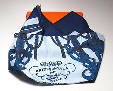 """Hermes Paris Scarf """"Brides de Gala"""" with original box NWT Marine/Sky/Cobalt"""
