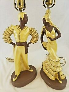 VINTAGE 1950's CONTINENTAL ART Co. CHALKWARE TABLE LAMPS FLAMENCO DANCERS
