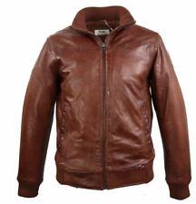 Herren Lederjacke Lammnappa-Lederjacke Echtleder Real Leatherjacket 2XL braun