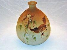 ~  ASIAN HANDWORK Pottery VASE Handpainted BIRD, SIGNED ~