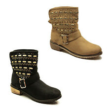 WOMENS CASUAL PULL ON LOW CUBAN HEEL ANKLE BOOTS BOOTIES LADIES SHOES SIZE 3-8