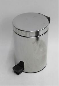 """BRABANTIA 10"""" High Chrome Plated Foot Pedal Operated Waste Bin w Inner Bucket"""